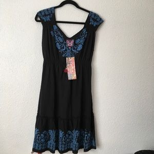 NWT Johnny Was Black embroidered dress